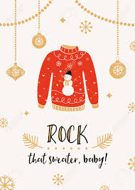 ugly sweater christmas party invitation card template royalty free