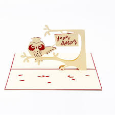blessing cards owl 3d pop up gift greeting blessing cards handmade paper