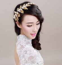 bridal hair accessories gold leaves rhinestone bridal hair accessories faux pearl