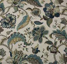 ballard designs courtney peacock blue jacobean floral fabric by