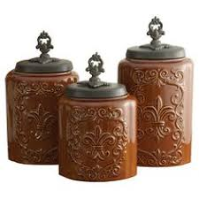 brown canister sets kitchen artimino fleur de lis canister metal rack earthenware and dillards
