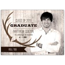 college grad announcements rustic antler banner photo college graduation announcements paperstyle