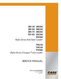 case sr175 skid steer loader service repair manual by