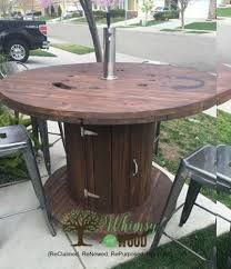 outdoor tables made out of wooden wire spools patio party cable spool upcycled with style hometalk