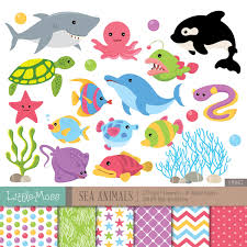 sea animals digital clipart and papers under the sea clipart