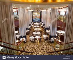 formal dining room on radiance of the seas cruise ship stock photo