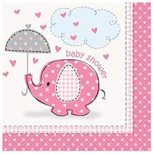 girl baby shower pink elephant girl baby shower cocktail napkins 16ct