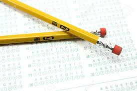 two number 2 pencils and a bubble test sheet stock photo picture