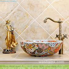 bathroom pattern luxury colorful retro enamel caremic bathroom sink with mysterious