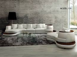 rodus rounded corner italian leather sectional sofa with high