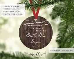 our first christmas married ornament wedding gift personalized