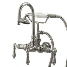 shop kingston brass vintage satin nickel 3 handle fixed wall mount bathtub faucet at lowes com kingston brass 3 handle claw foot tub faucet with handshower in