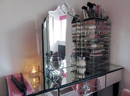 Glass Vanity Table With Mirror Glass Vanity Table With Lighted Mirror Home Decorations