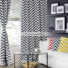 cotton printing navy blue and white striped chevron curtains