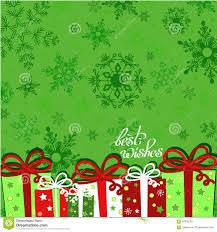 christmas presents on green seamless snowflake pattern greeting