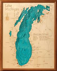 Map Of Michigan Lakes Amazon Com Lake Michigan In Great Lakes Gl 3d Map 16 X 20 In