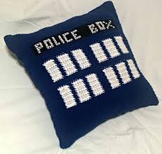 tardis throw pillow doctor who pillow crochet pillow throw