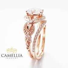 Rose Gold Wedding Rings by Unique Moissanite Engagement Ring Set 14k Rose Gold Engagement