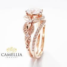 unique gold engagement rings unique moissanite engagement ring set 14k gold engagement
