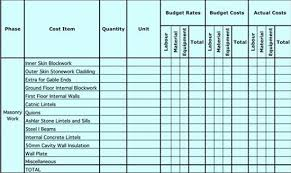 Home Building Cost Estimate Spreadsheet by Estimating Work Spreadsheet