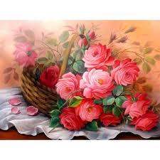 basket of flowers diy 5d diamond mosaic pink basket of flowers painting