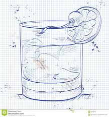 old fashioned cocktail drawing old fashioned cocktail on a notebook page stock vector image