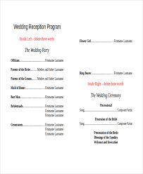 wedding reception program template programme for wedding reception sle wedding reception program