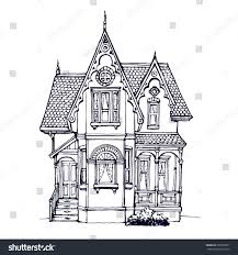 victorian cute little house outline ink stock vector 678260521