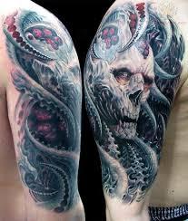 horror bioorganic skull half sleeve tattoos tattooshunt com