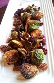 brussels sprouts with pecans and cranberries vegan side dish for