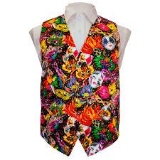 mardi gras vest vibrant colorful mardi gras mask printed vest set
