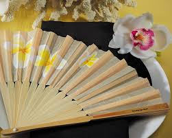 wedding fans favors tropical fan with plumeria floral details set of 6 my