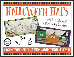 halloween hats coloring cutting pasting and pretend play