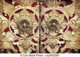 bali wood carving wood carving door ornate entrance door to temple in bali stock