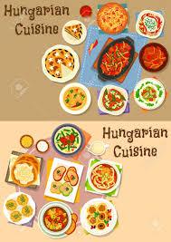 jeux de cuisine de poisson jeu d icônes de déjeuner cuisine hongroise de ragoût de viande
