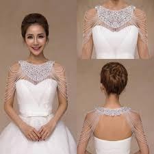 wedding dresses with bolero luxurious rhinestone jewelry bridal wraps white lace