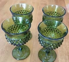 homco home interiors vintage set of 4 homco home interiors olive green glass goblets