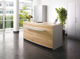 White Curved Reception Desk Small Curved Receptionist Desk Manufactured Wood Construction