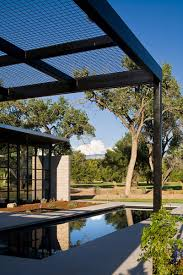 Swimming Pool Canopy by Futuristic Flyway View House Near Rectangular Swimming Pool