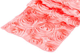 cheap coral table runners wedding rosette satin table runner coral at cv linens cv linens