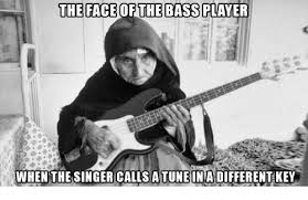 Bass Player Meme - the face of the bass player when the singer calls a tune ina