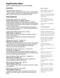 Video Resume Script Resume U0026 Experience U2014 Sophia Carter Kahn