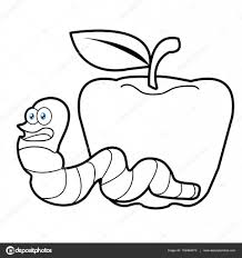 larva worm and apple cartoon coloring page for toddle u2014 stock