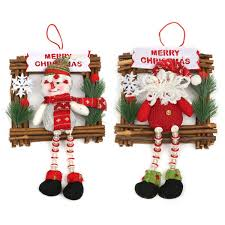 christmas door hanging ornaments wooden swing cloth snowman santa