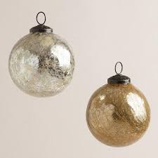 silver and gold crackle mercury glass ornaments set of 2 world