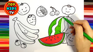 how to draw fruits for kids painting with a color marker youtube