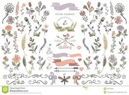 colored doodles borders ribbons floral decor element eps stock
