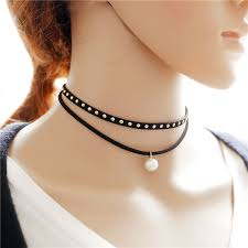 black choker necklace aliexpress images Mylove handmade black leather choker with pearl women simple jpg
