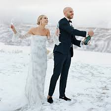 wedding in glee s becca tobin s stunning snowy wedding in jackson brides