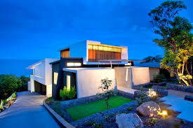 wonderful modern beach house design with yellow lighting small